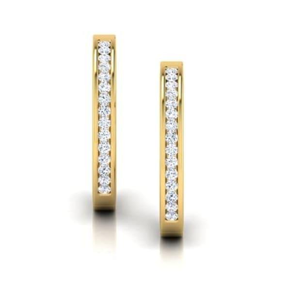 ต่างหูทอง 18K ประดับเพชร น้ำหนักรวม 0.19 กะรัต