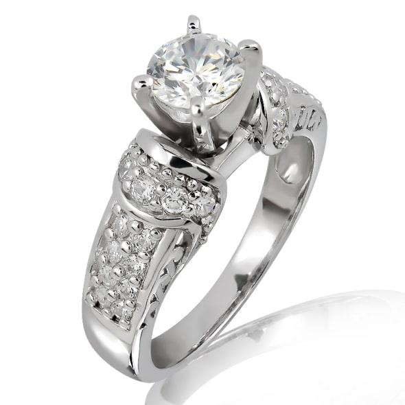 แหวนทอง 18K ประดับเพชร น้ำหนักรวม 1.00 กะรัต ค่าสี D ค่าความสะอาด VS2