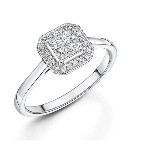 แหวนทอง 18K ประดับเพชร น้ำหนักรวม 0.34 กะรัต ค่าสี G ค่าความสะอาด VS