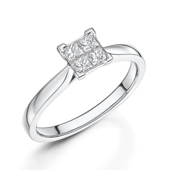 แหวนทอง 18K ประดับเพชร น้ำหนักรวม 0.37 กะรัต ค่าสี G ค่าความสะอาด VS