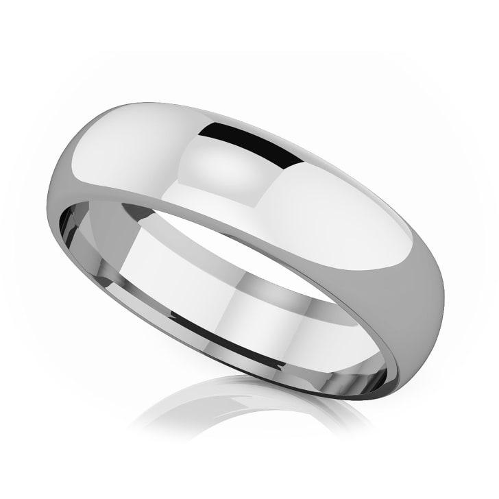 แหวนPlatinum - 6 mm Comfort fit classic