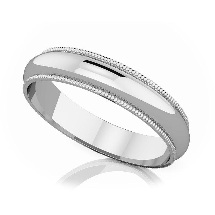 แหวนPlatinum - 4 mm Milgrain edge romantic classic band