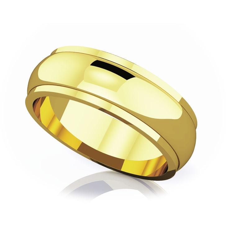 แหวนทอง - 18K 6 mm Half rounded edge romantic classic band