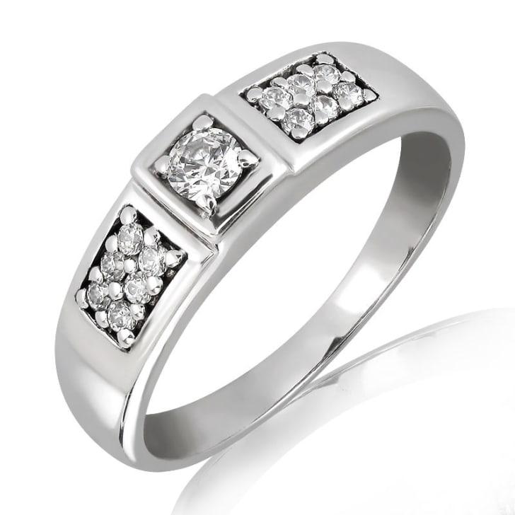 แหวนหมั้นชาย ทอง 18K ประดับเพชร น้ำหนักรวม 0.30 กะรัต ค่าสี F ค่าความสะอาด VS