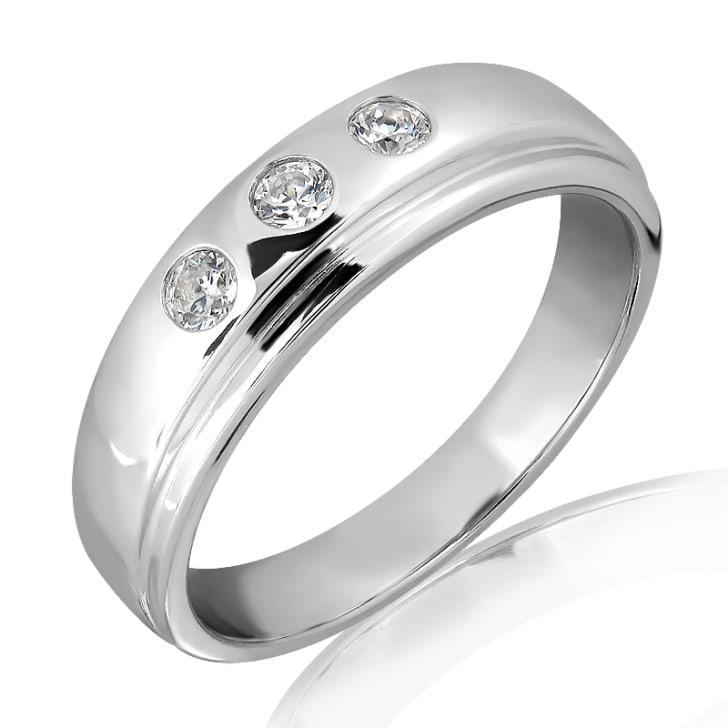 แหวนเพชรหมั้นชาย ทอง 18K ประดับเพชร 0.20 กะรัต ค่าสี E ค่าความสะอาด VS