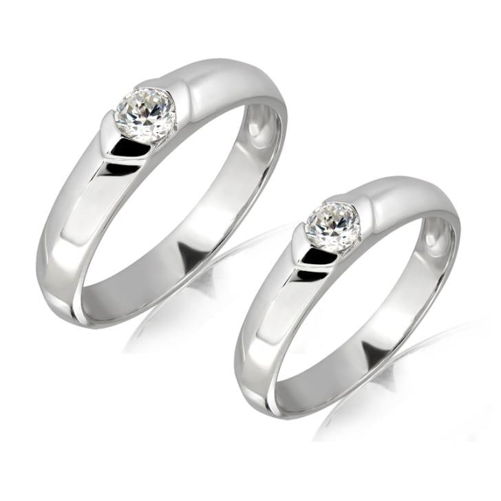 แหวนทองคู่รัก 18K  ประดับเพชร น้ำหนักรวม 0.25 กะรัต ค่าสี E (น้ำ 99) ค่าความสะอาด VS