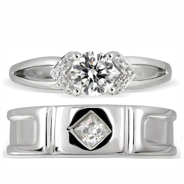 """แหวนคู่รักทอง 18K ประดับเพชร น้ำหนักรวม 0.40 กะรัต ค่าสี E ค่าความสะอาด VS2 แหวนมาจากคอลเล็คชั่น """"His & Her"""""""