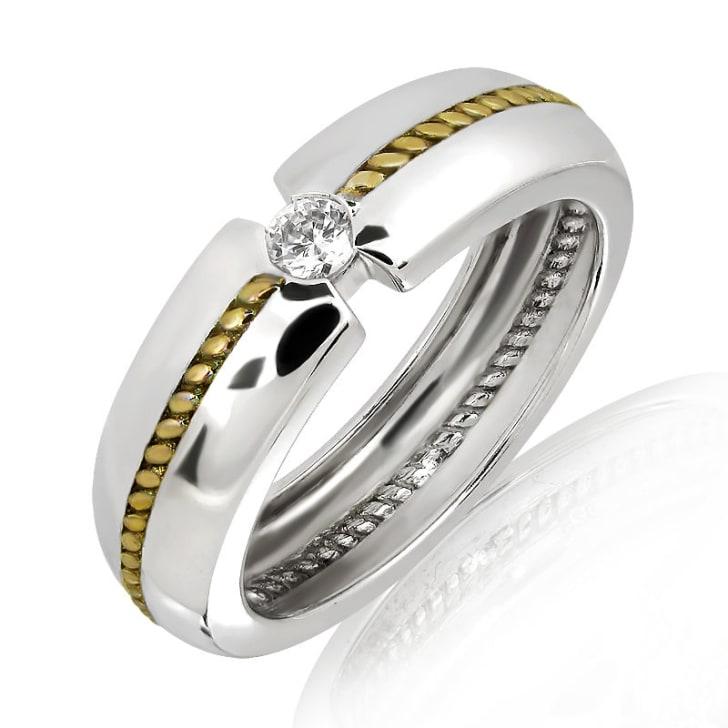 แหวนหมั้นชาย ทอง 18K ประดับเพชร น้ำหนักรวม 0.20 กะรัต ค่าสี F ค่าความสะอาด VS