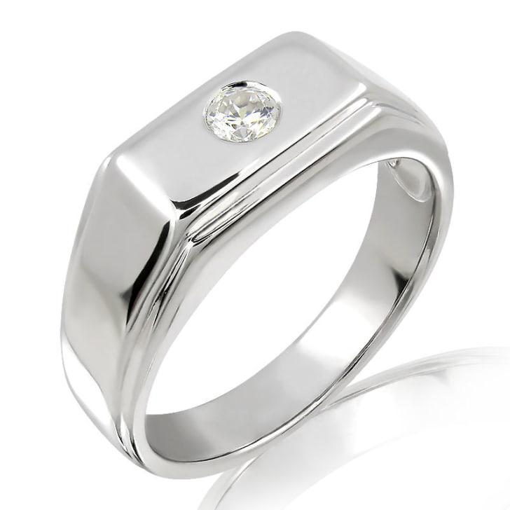 แหวนเพชรหมั้นชาย ทอง 18K ประดับเพชร 0.10 กะรัต ค่าสี F ค่าความสะอาด VS