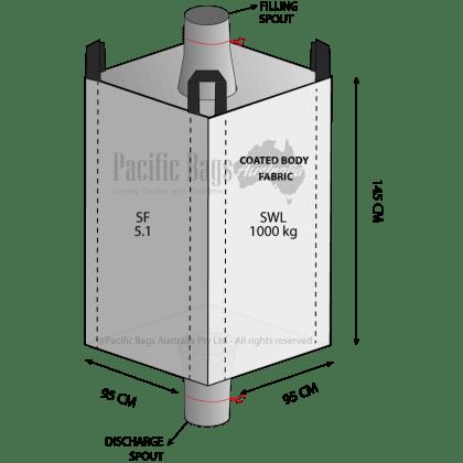 1.0 Tonne - Spout Top Spout Bottom - Coated Bulk Bag