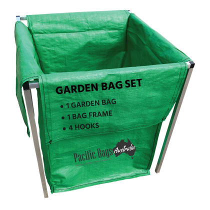 HDPE Garden Bag Full Set - 1 Aluminium Frame + 1 Garden Bag + 4 Hooks