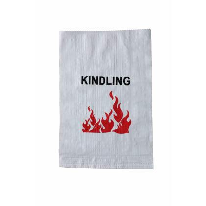 Woven Polypropylene - 100 Printed White Kindling Bags - 41 CM x 65 CM