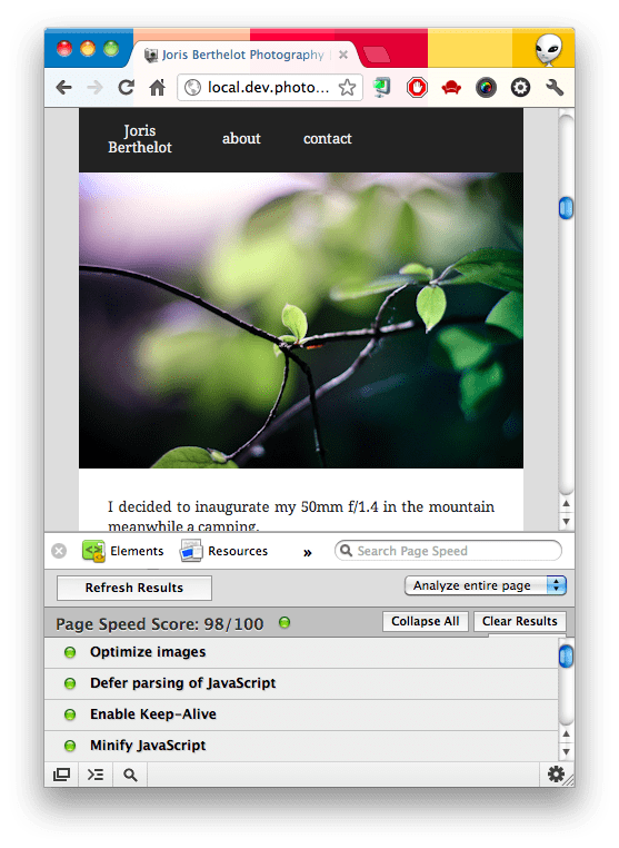 portfolio-page-speed