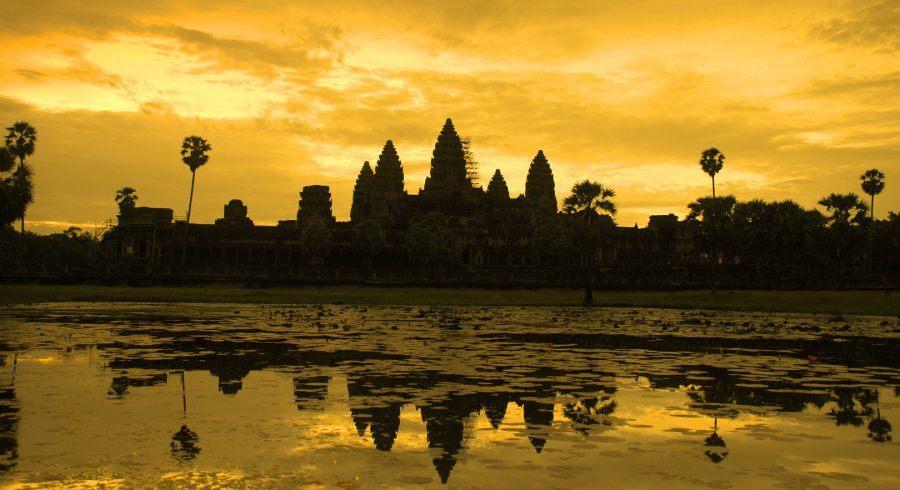 Angkor Wat in Kambodscha bei Sonnenuntergang