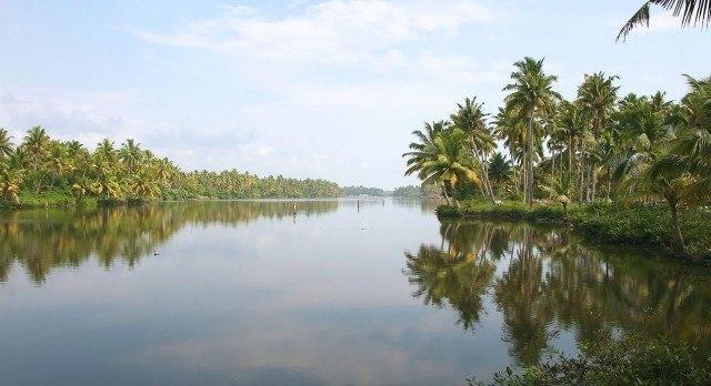The winding backwaters of Kerala.