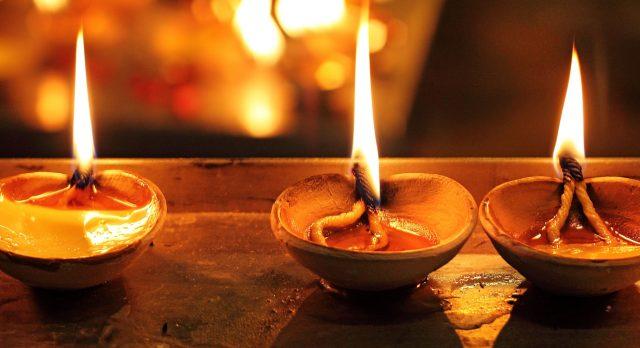 Lamps lit - Diwali during India tour