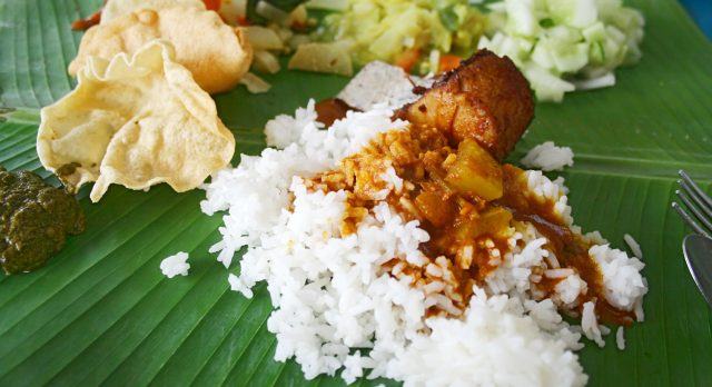 Southeast Asian street food: a banana leaf rice in Malaysia