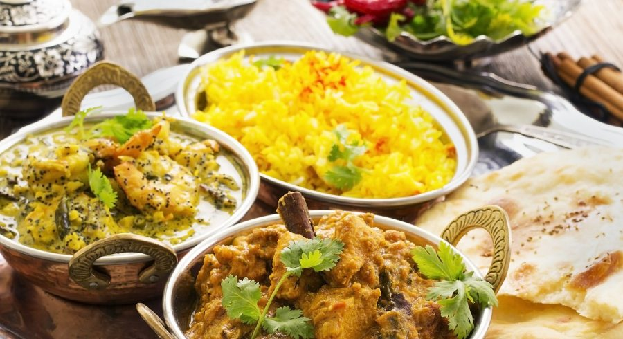 North Indian food: creamy curries, rice and bread