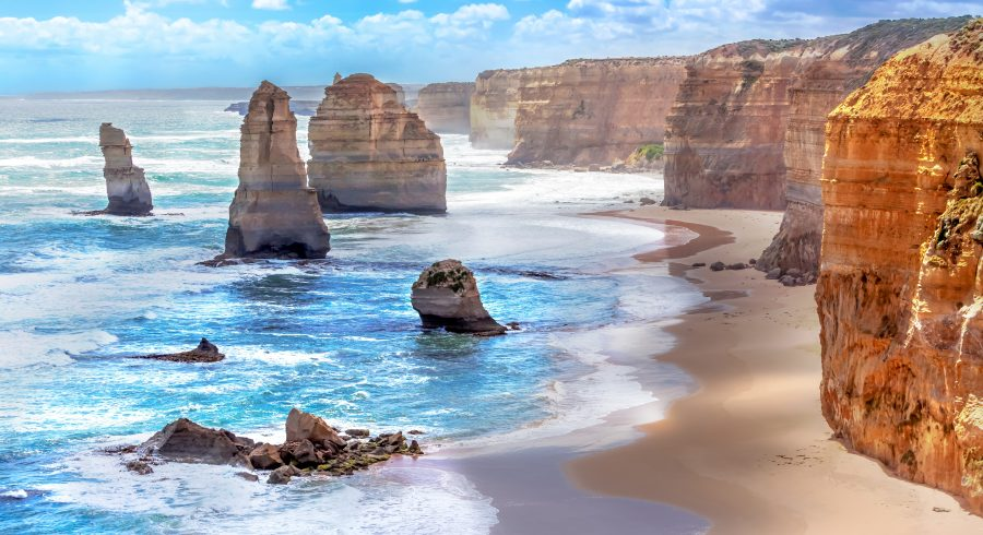 Twelve Apostles and orange cliffs along the Great Ocean Road in Australia
