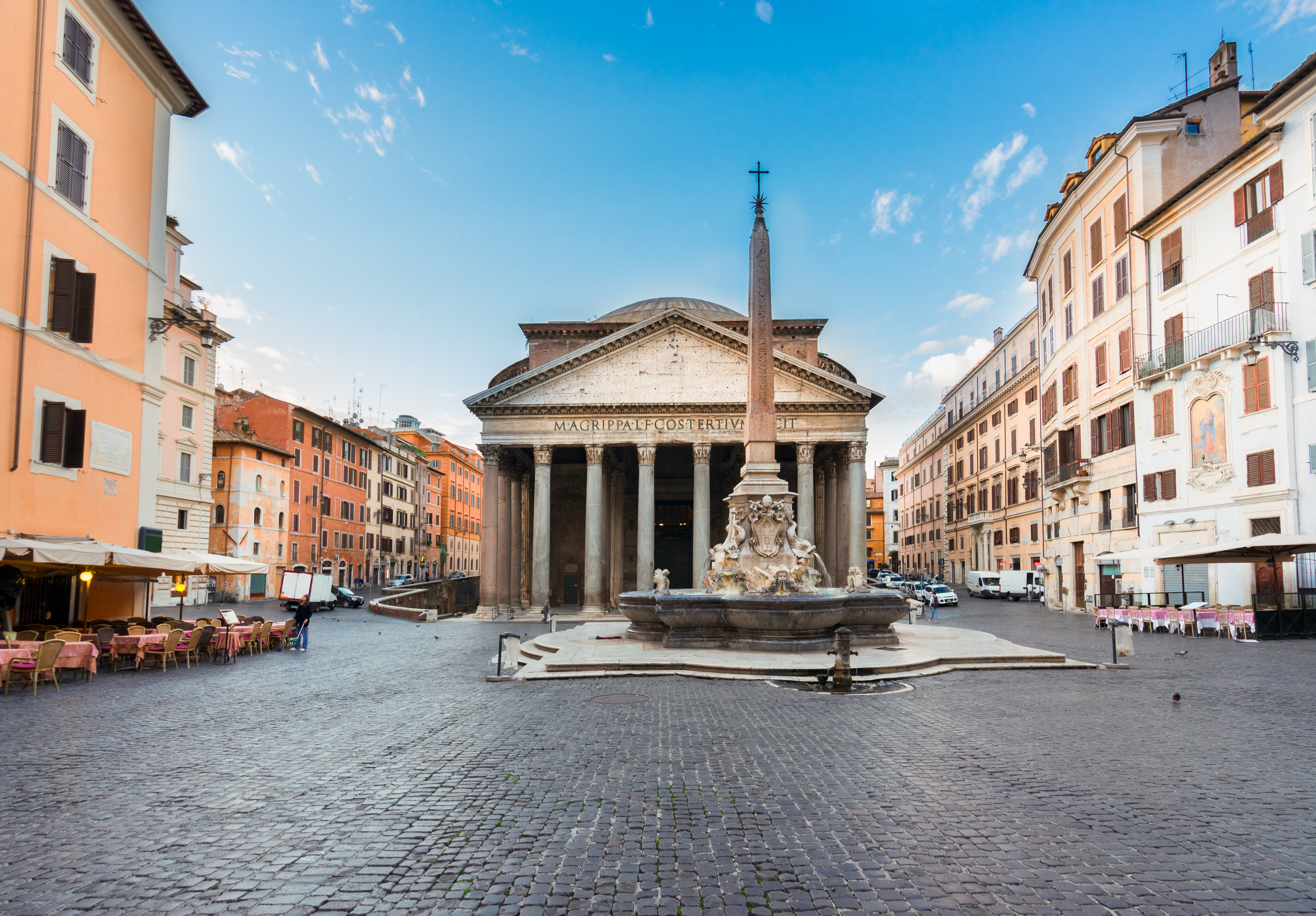 The imposing Pantheon in Rome, once a Roman temple dedicated to all gods, and now converted to a church, is the best preserved of all Ancient Roman monuments.