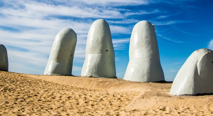 La Mano sculpture in Punta del Este, Uruguay