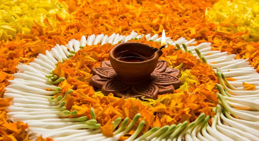 Flower decorations for Onam in Kerala.