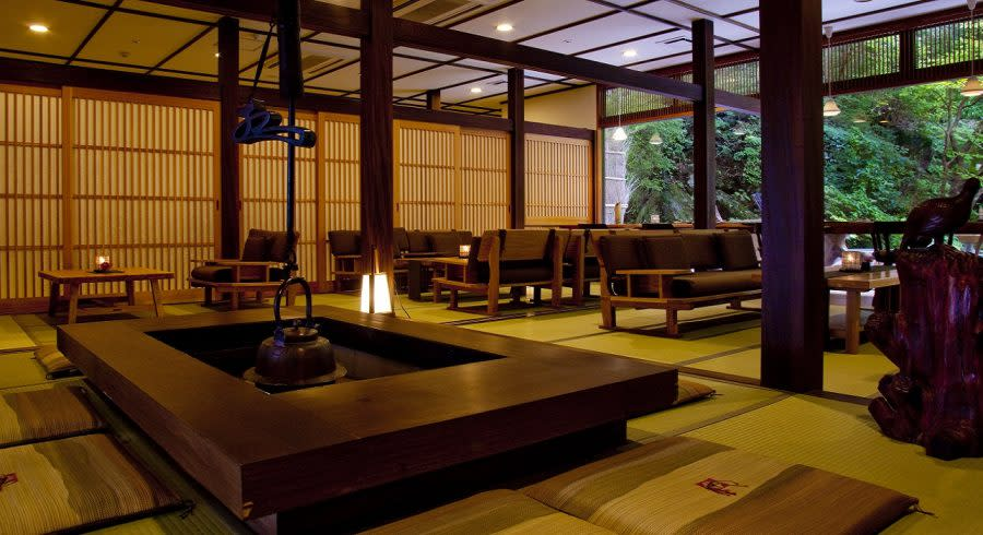 Lobby at Gora Sounkaku in Hakone, Japan
