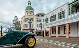 Enchanting Travels New Zealand Tours Napier Major Symbols - A Vintage Car and The Dome Building