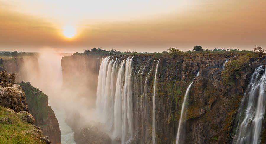 Victoria Falls sunset, View from Zambia, shutterstock_198156398