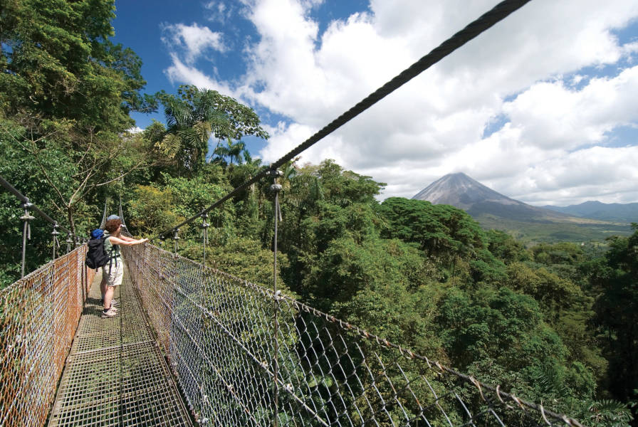 Views of Arenal Volcano from the hanging bridges