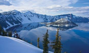 View of Crater Lake in Winter