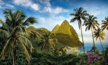 The Pitons in the evening