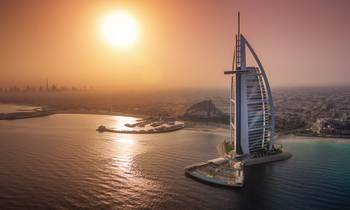 The Burj Al Arab at sunset
