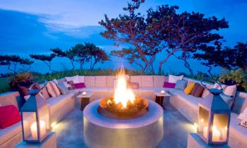 Fire pit at dusk