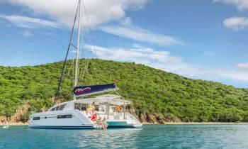 Moorings 4000 at anchor