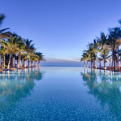 a body of water surrounded by palm trees