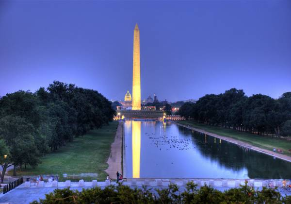 Washington Monument over a body of water