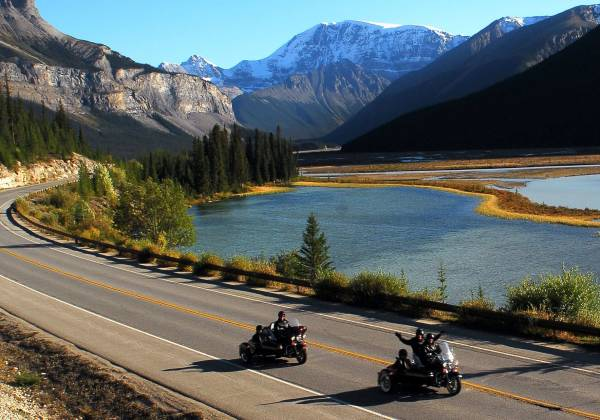 Two motorcycles on the Icefields Parkway
