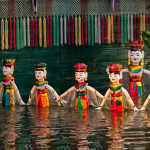 Performance-of-the-water-puppet-at-Hanoi,-Vietnam-Asia