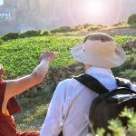 Tibetan monk & european tourist in Nepal & India