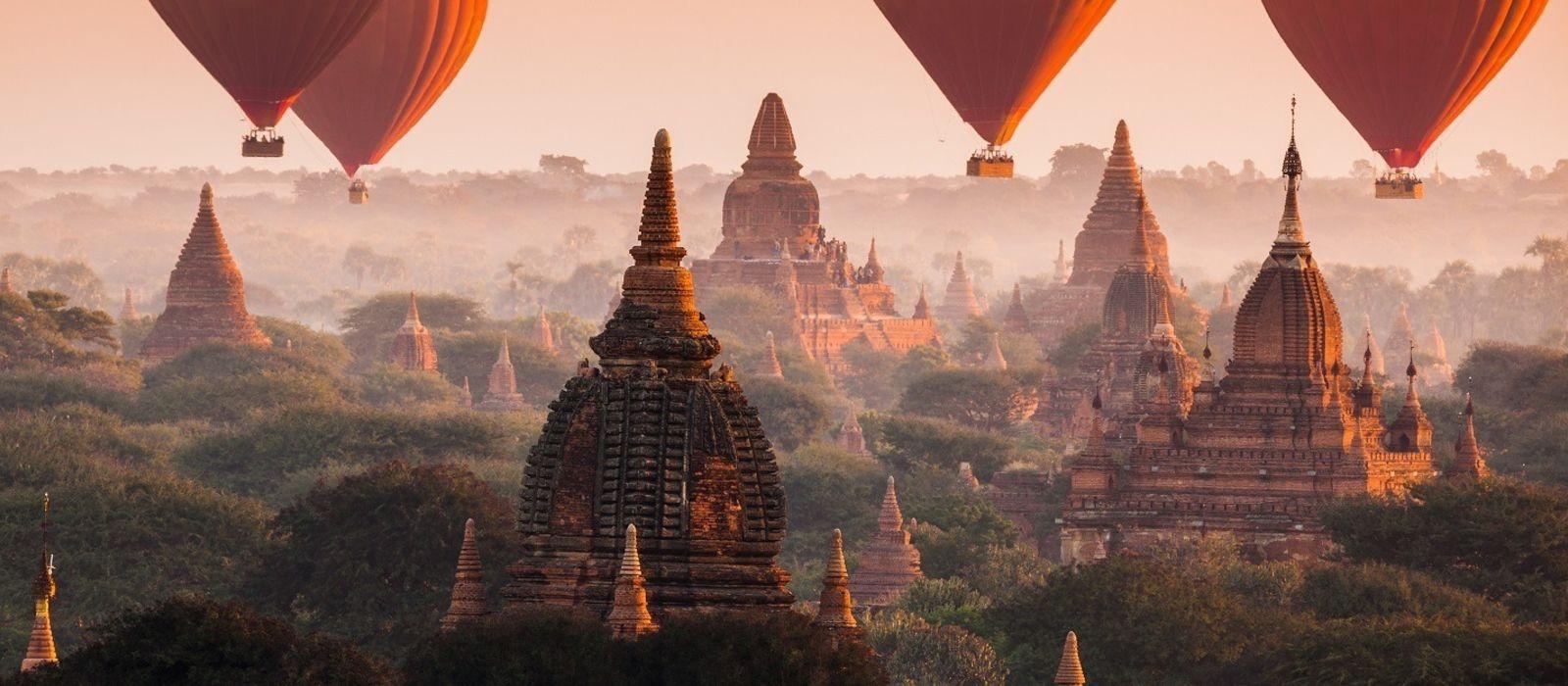 Hot air balloon over Bagan in misty morning, Myanmar, Asia