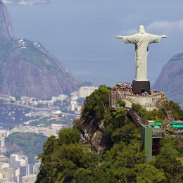 Aerial view of Christ Redeemer and Corcovado Mountain, Brazil, South America