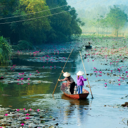 Yen-stream-on-the-way-to-Huong-pagoda-in-autumn,-Hanoi,-Vietnam.-Vietnam-landscapes-Asia