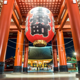 Large Red Lantern at Sensoji Temple in Tokyo