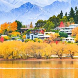 Wanaka-Bäume im Herbst am Ufer des Wanaka-Sees in Wanaka, Neuseeland