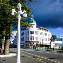 Enchanting Travels New Zealand tours Art Deco street lamp posts in historic Napier rebuilt after 1931 earthquake, New Zealand