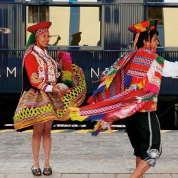 Welcome dance at the Hiram Bingham lounge, Machu Pachu, Peru, South America