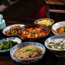 A table of Chinese food, Sichuan cuisine