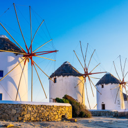 Windmühlen auf Mykonos, Griechenland