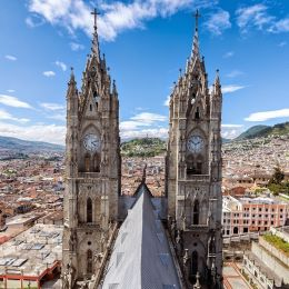 View of the towers of the Basilica in Quito, Ecuador, South America, shutterstock_245776240